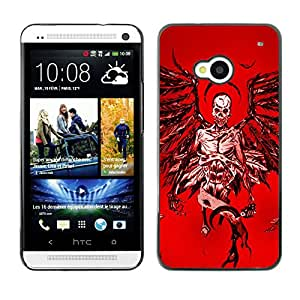 Shell-Star Arte & diseño plástico duro Fundas Cover Cubre Hard Case Cover para HTC One M7 ( Angel Death Red Blood Wings Skull )