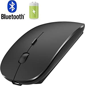 Rechargeable Bluetooth Mouse for Mac iPad Wireless Bluetooth Mouse for MacBook Pro MacBook Air Windows Notebook MacBook (Black)
