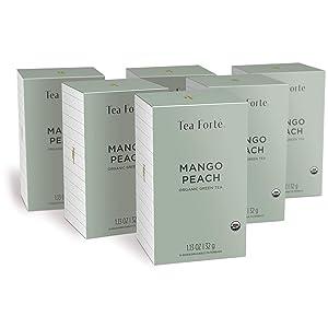 Tea Forte Mango Peach Green Tea Bags, Organic Tea in Filterbags, 6 Boxes, 96 Tea Bags Total