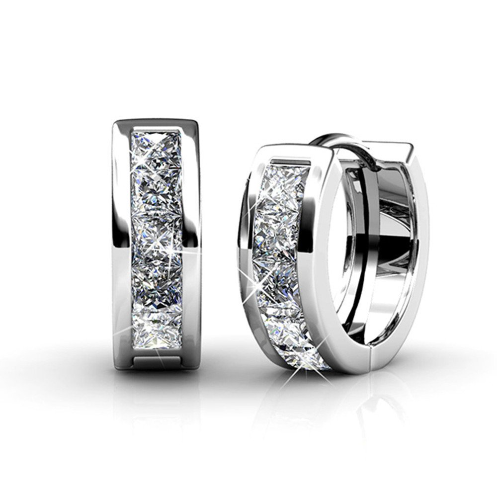 Desimtion Platinum Plated Hoop Earrings With Swarovski Crystals, Small Huggie Earrings For Women Girls