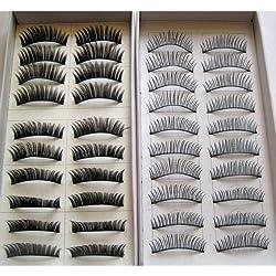20 Pairs 2 Styles Fashion Regular Long and Thick Eyelashes