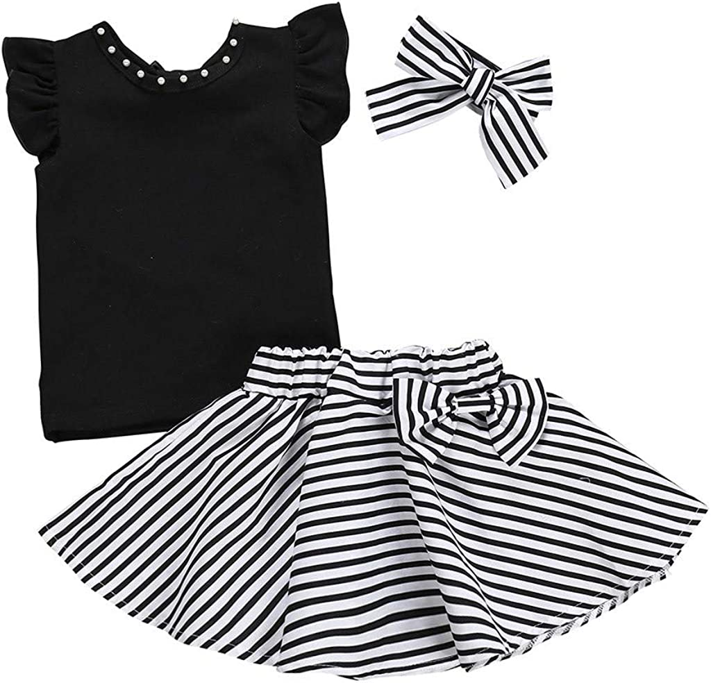 DWQuee Baby M/ädchen Kleidung Set R/üschen Tops+Streifen Rock Outfits f/ür 1-5 Jahre