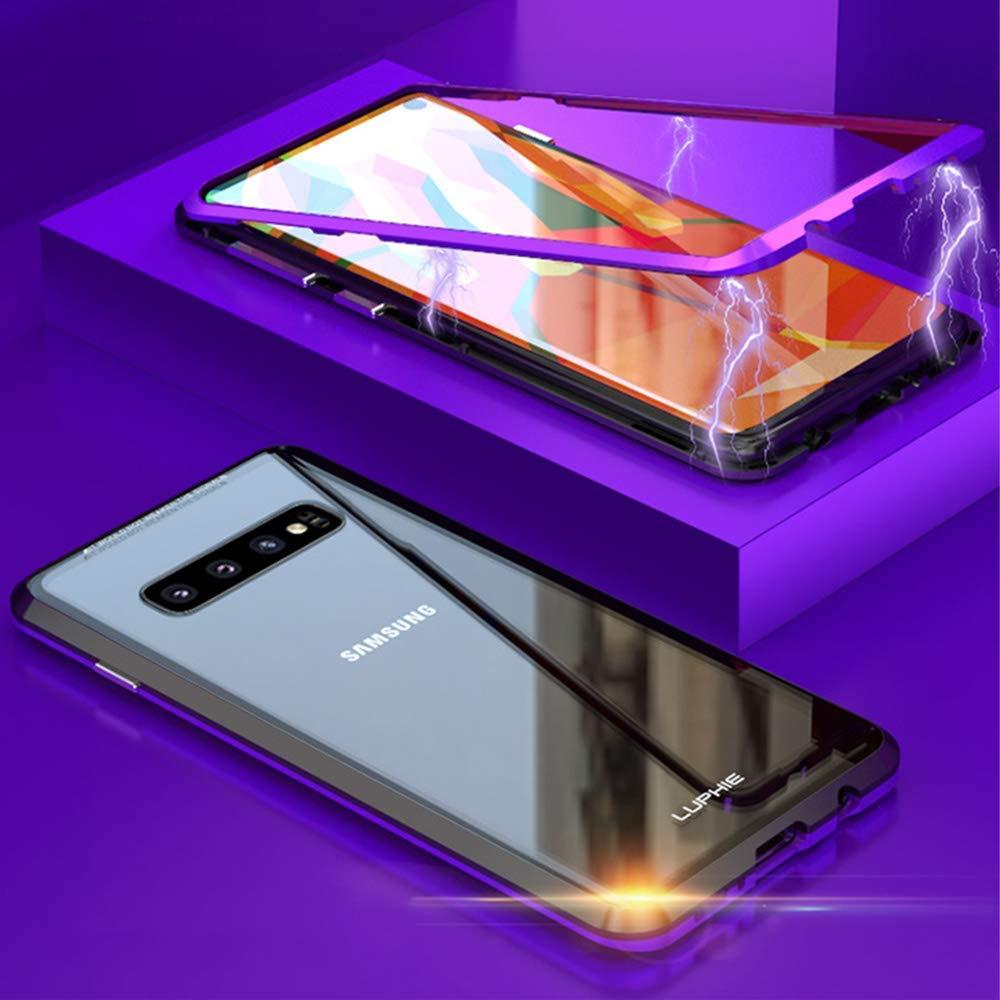 Funda para Samsung Galaxy S10 Magnetica Adsorption Carcasa 360 Grados Anti Choque Marco de Metal Cover Case Transparente Vidrio Templado Protecci/ón para Samsung Galaxy S10 Oro