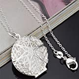 Meenanoom Womens Silver Hollow Flower Photo Frame Charms Pendant Chain Necklace Jewelry