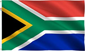 Republic of South Africa Country Flag 3x5 Ft , Moderate-Outdoor Both Sides 100D Polyester ,Canvas Header and Double Stitched - Brass Grommets for Easy Display,3' x 5' South African National Flags
