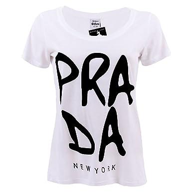 eceef88e0be7e Monsieur Steve PRADA Open Neck Damen T-Shirt weiß