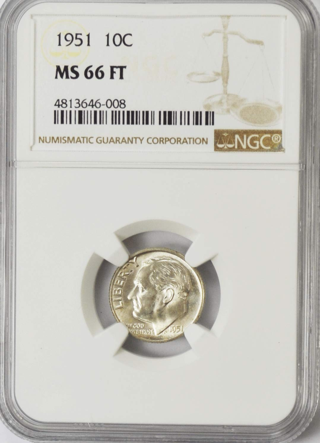 1981-D  ROOSEVELT DIME NGC MS-66 FT       NEW LOW PRICE