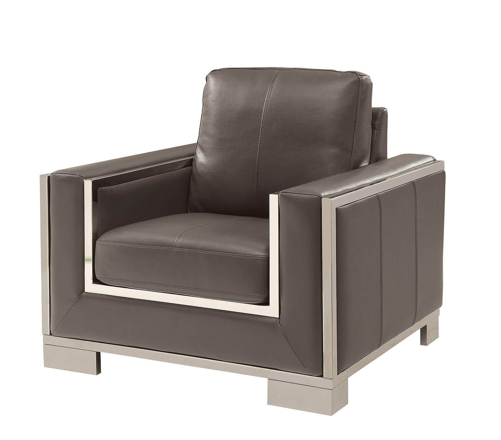 CDM product Benzara BM181361 Leather Upholstery Chair, Gray and Silver big image