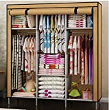 Generic New Portable Folding Clothes Bedroom Furniture Wardrobe Armoires Cabinet Closet (Khaki)