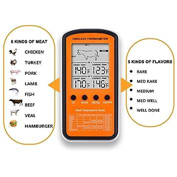 Termómetro digital inalámbrico para cocina, barbacoa, barbacoa, barbacoa, barbacoa, barbacoa,