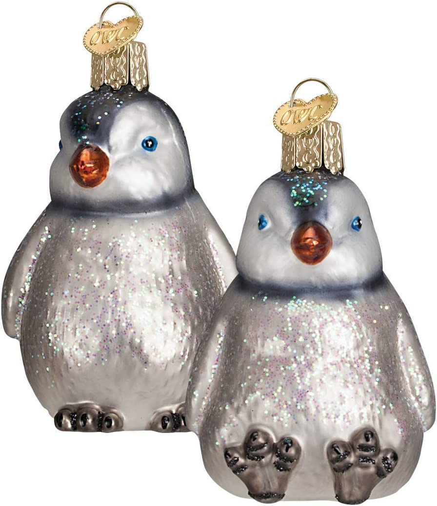 Old World Christmas Ornaments: Penguin Chicks Glass Blown Ornaments for Christmas Tree