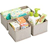 mDesign Storage Box Set of 3 - Six Multi-Use Organisers in Two Sizes - Universal Storage System for Accessories, Nappies, Towels, Utensils and More - Taupe/Natural