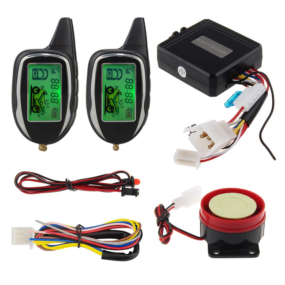 EASYGUARD EM208-2 2 Way LCD Display Motorcycle Alarm System with Remote Engine Start Motion Sensor & Built in Shock Sensor DC12V by EASYGUARD