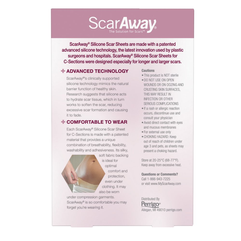 ScarAway C-Section Scar Treatment Strips, Silicone Adhesive Soft Fabric 4-Sheets (7 X 1.5 Inch) by ScarAway (Image #4)