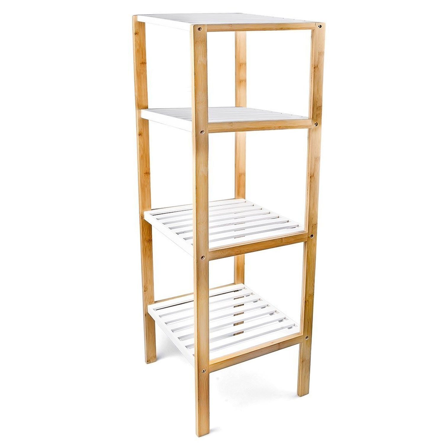 Top Home Solutions Wooden Freestanding Bamboo Storage Unit Display Shelf Shelves For Bathroom, Living Room, Hallway storage or display (3 Tier) 10067h; 10068h