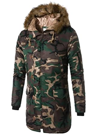 6d3e61ed236c0 Gnao Mens Camo Print Faux Fur Hooded Quilted Warm Long Jacket Coat Army  green XS