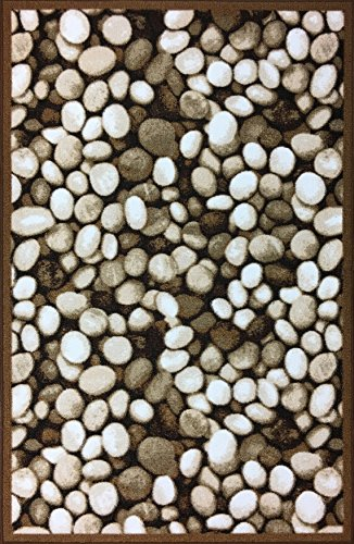Pebbles Pattern Design Rubber backed durable Area Rug Carpet ( 3' 3