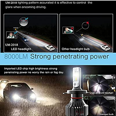 Alla Lighting UM-2020 Vision 9007 HB5 LED Headlight Bulbs 8000 Lumens 6500K - 6500K Xenon White 9007 Dual Hi/Low Beam Conversion Kits Headlights Replacement for Cars, Trucks: Automotive