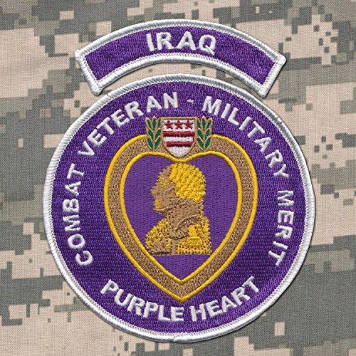 IRAQ TAB - US Military Purple Heart Embroidered Patch 4 1/2