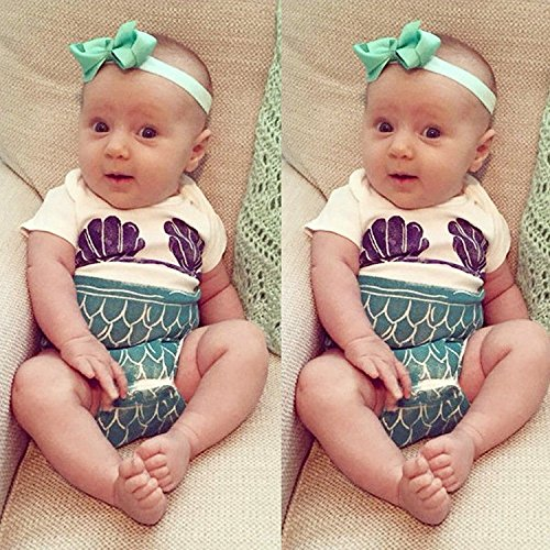 5170fcaf4d5 BiggerStore Cute Baby Girls Summer Mermaid Romper Bodysuit Outfits White  Clothes (70cm 3-