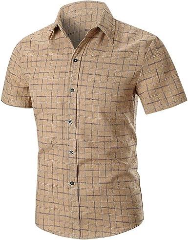 De los Hombres de la Moda de Manga Corta Camisa a Cuadros Camisa Hombres Vestido de Slim Fit Camisas Casual Chemise Homme de algodón Hombre Camisa: Amazon.es: Ropa y accesorios