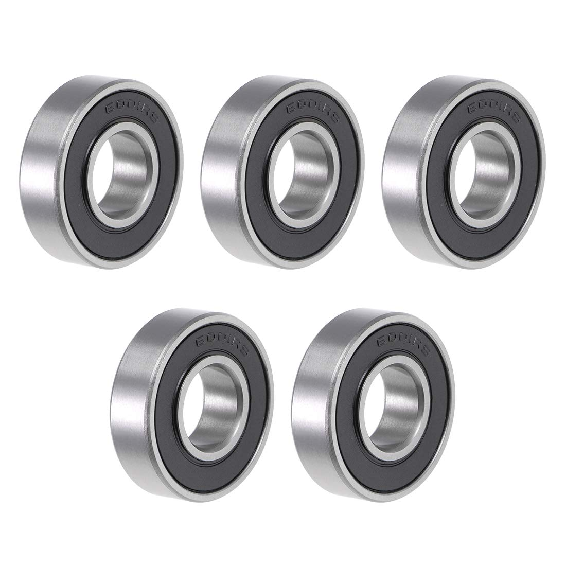 sourcing map 6000-2RS Deep Groove Ball Bearing 10x26x8mm Double Sealed ABEC-3 Bearings 5-Pack