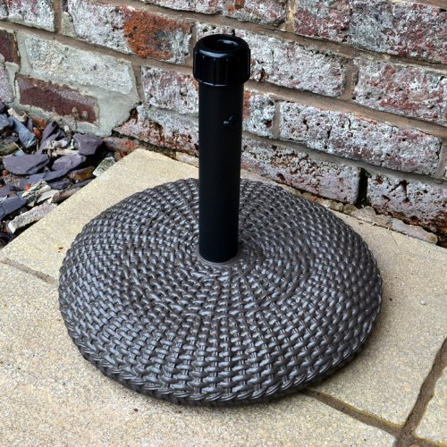 Alfresia Chocolate Brown Rattan Effect Capacity 16kg Round Parasol Base