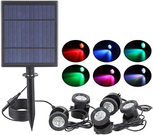 jard/ín con 2 l/ámparas de alto brillo para estanque IP68 sensor de luz anfibia luz de paisaje bajo el agua 12 LED sumergible para estanque Luces solares para estanque LED bajo el agua
