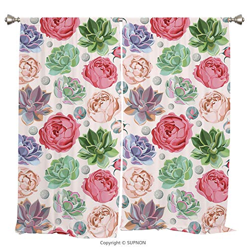 Rod Pocket Curtain Panel Thermal Insulated Blackout Curtains for Bedroom Living Room Dorm Kitchen Cafe/2 Curtain Panels/55 x 45 Inch/Succulent,Peony Roses and Succulent Colorful Pastel Blooming Petals - Cup Prairie Rose