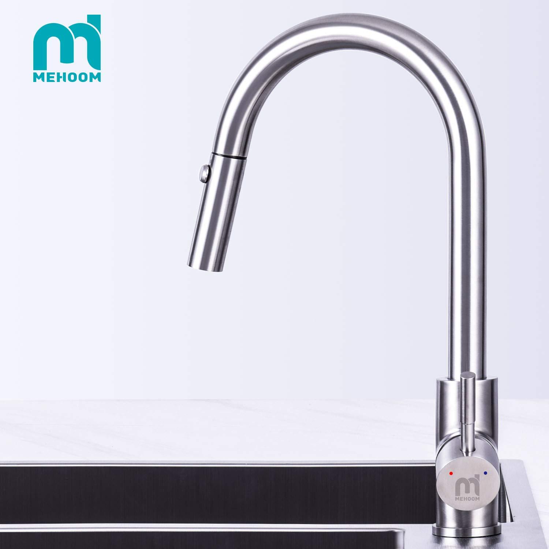 Grifo de Cocina, MEHOOM Grifo con Ducha Extraible 2 Modos de Flujo de Agua Giratorio