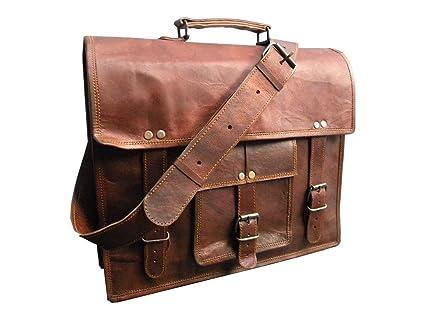 Vintage Leather Bazaar Leather Messenger Real Goat Hide Laptop Notebook Computer Bags /& Cases Bag