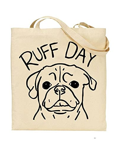 Ruff Day Dogs Puppies Play On Words Tote Bag Handbag