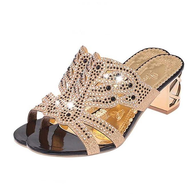 11ecf60ed2bb Estivi Pantofole Donna,Witsaye Eleganti Donna Scarpe Tacchi Alti Strass  Sandali Ciabatte Pantofole da Spiaggia