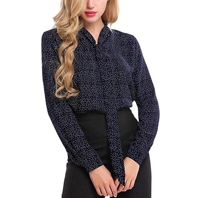 Mujer Camisas Lonshell Otoño Cuello Redondo Manga Larga Lunares Gasa Camisa Casual Blusa Encaje Tops Camiseta: Amazon.es: Ropa y accesorios