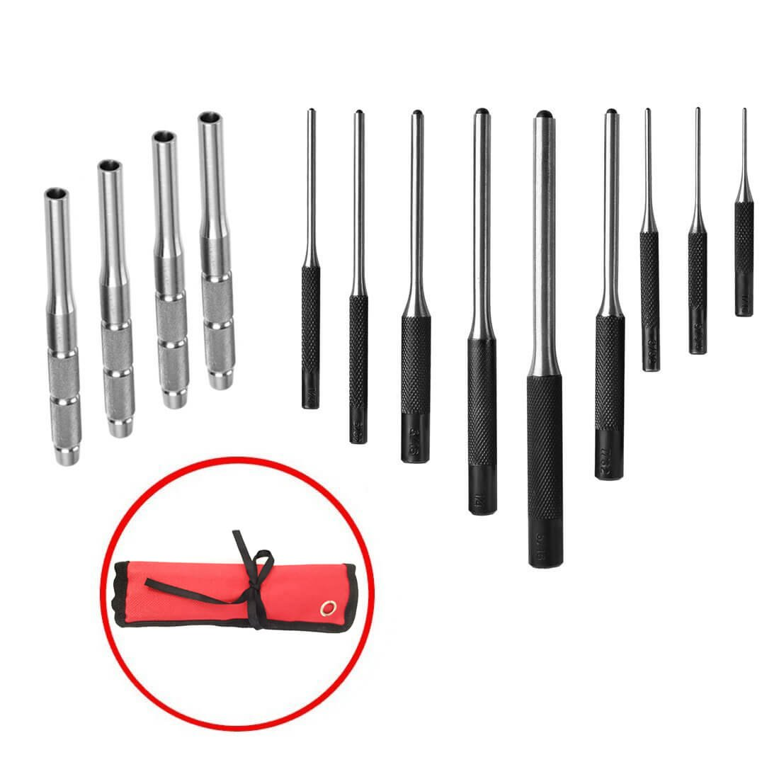 Xage 9 Pieces Roll Pin Punch Set and 4 Pieces Hollow End Starter Punch Tool with Carry Case