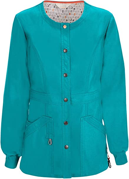 Scrubs Code Happy Snap Front Jacket 46300A Teal  FREE SHIPPING