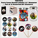 """Fortnite Stickers, Large 2.5"""" Round Circle Stickers to place onto Party Favor Bags, Cards, Boxes or Containers -12 pcs, Fort Night"""