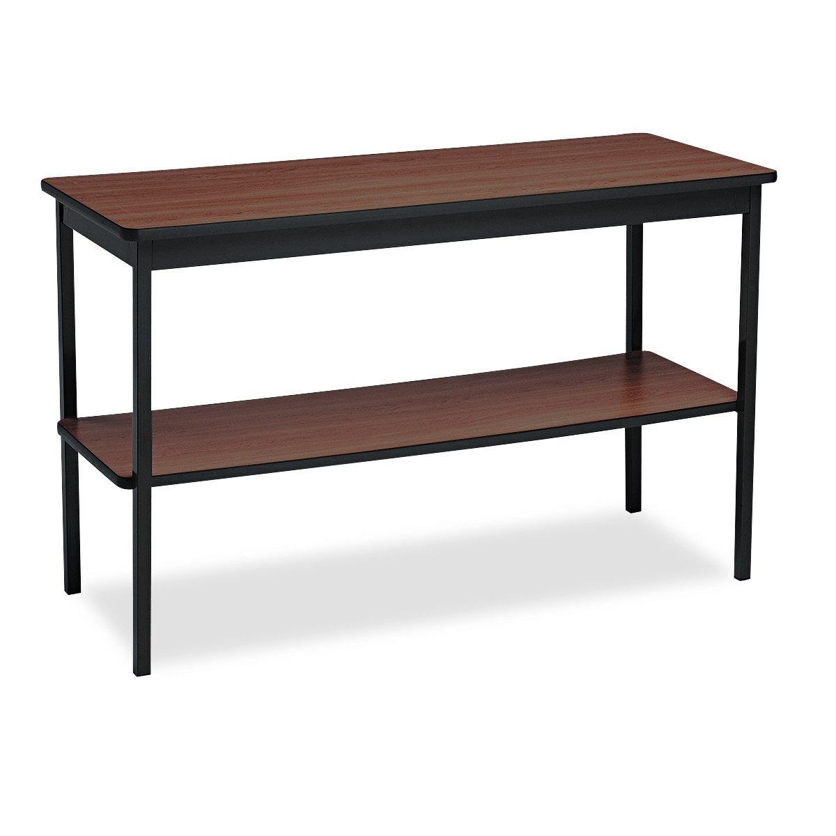 Barricks UTS1848WA Utility Table with Bottom Shelf, Rectangular, 48w x 18d x 30h, Walnut/Black