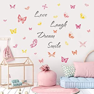 IARTTOP Colorful Butterfly Decal, Inspirational Words-Love Laugh Dream Smile Wall Sticker for Girls Bedroom Living Room Decor,Watercolor Butterflies Motivational Saying Wall Decoration
