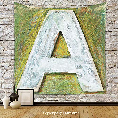 FashSam Tapestry Wall Blanket Wall Decor Worn Wooden Symbol of Uppercase A Letter Means of Written Language Print Home Decorations for Bedroom(W59xL90)]()