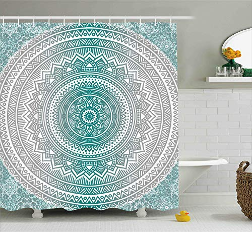 Ambesonne Grey and Teal Shower Curtain, Mandala Ombre Design Space Geometric Center Point Boho Meditation Art, Cloth Fabric Bathroom Decor Set with Hooks, 70