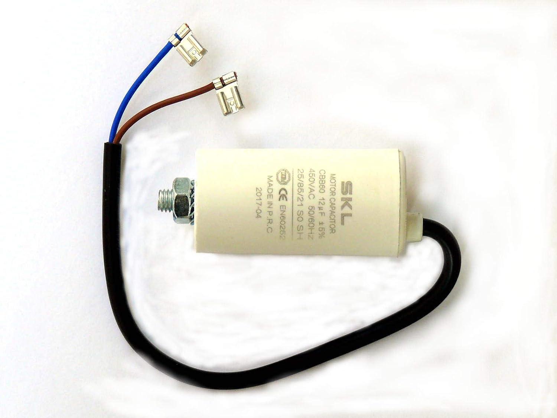 Kondensator 12µf Motorkondensator 12uf 450 500vac M Anschlusskabel Betriebskondensator Anlaufkondensator Anlasskondensator Baumarkt