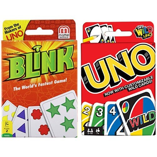 Game Worlds Fastest (Blink – The World's Fastest Game! and Uno Card Game Bundle)