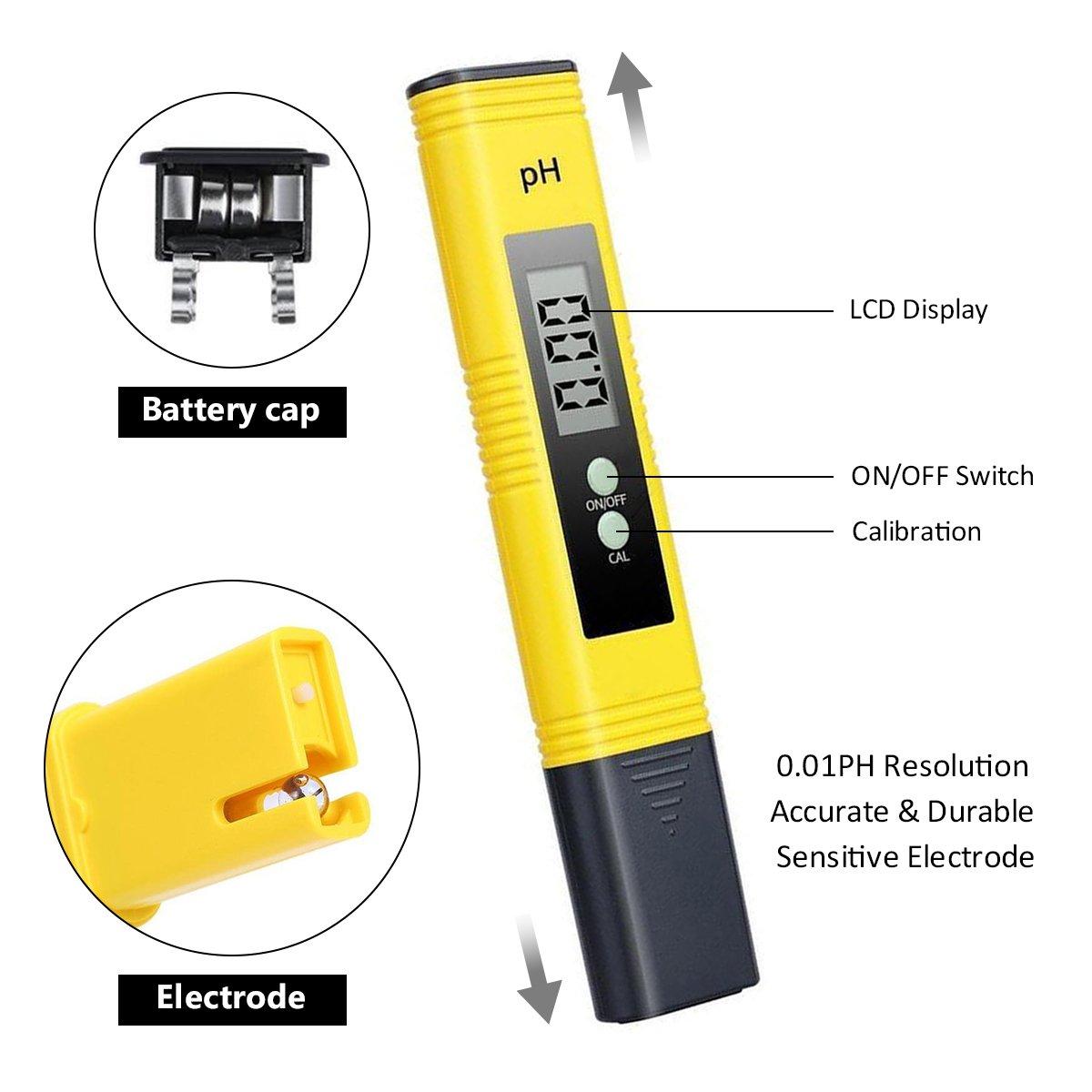 PH Tester Meter Digital, GOCHANGE Prueba Digital Multi Function PH/Prueba PH portátil/Hidropónica para Acuario Piscina, etc.: Amazon.es: Productos para ...
