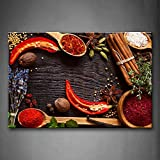 Herbs And Spices On The Wooden Board. Wall Art Painting The Picture Print On Canvas Food Pictures For Home Decor Decoration Gift