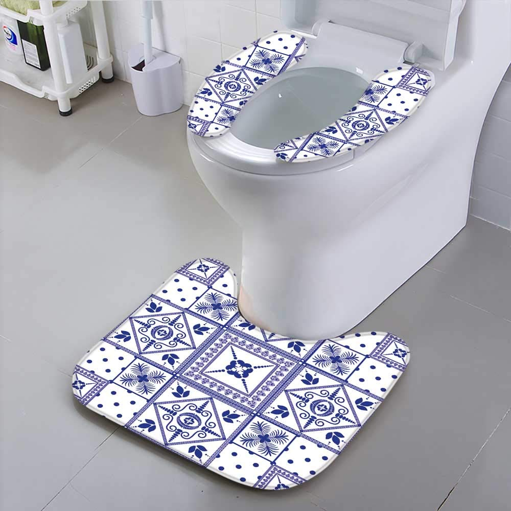 Jiahonghome Toilet seat Cover Vector Patchwork Background Navy Blue Tiles in Moroccan Oriental Style Ceramic Soft Non-Slip Water