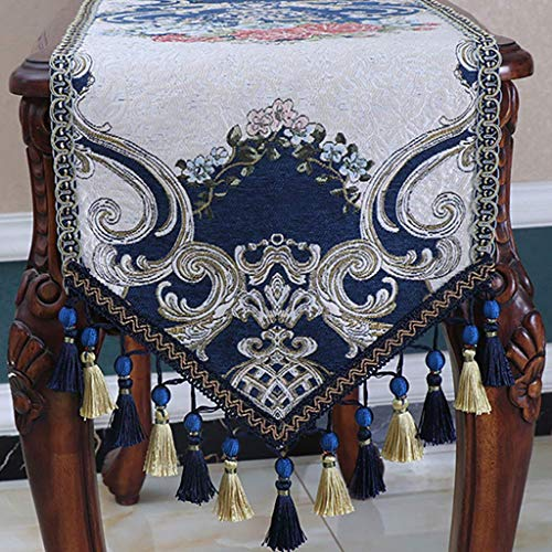 Giow Table Runners,Runner and Sewn Edges for Rustic Weddings, Decorations Table Runne,Runners and Dresser Scarves,Blue (Size : 35 180cm) ()