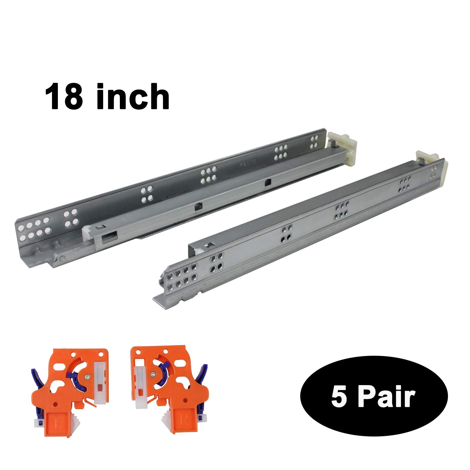 5 Pairs Self Soft Close Under/Bottom Rear Mounting Drawer Slides 18 inch Concealed Drawer Runners;Locking Devices;Rear Mounting Brackets;Screws and Instructions