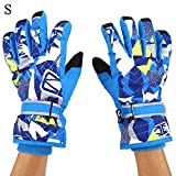 Ski Gloves, Winter Thickened Waterproof Windproof Warm Snow Snowboard Gloves with Wrist Leashes for Skiing Skating
