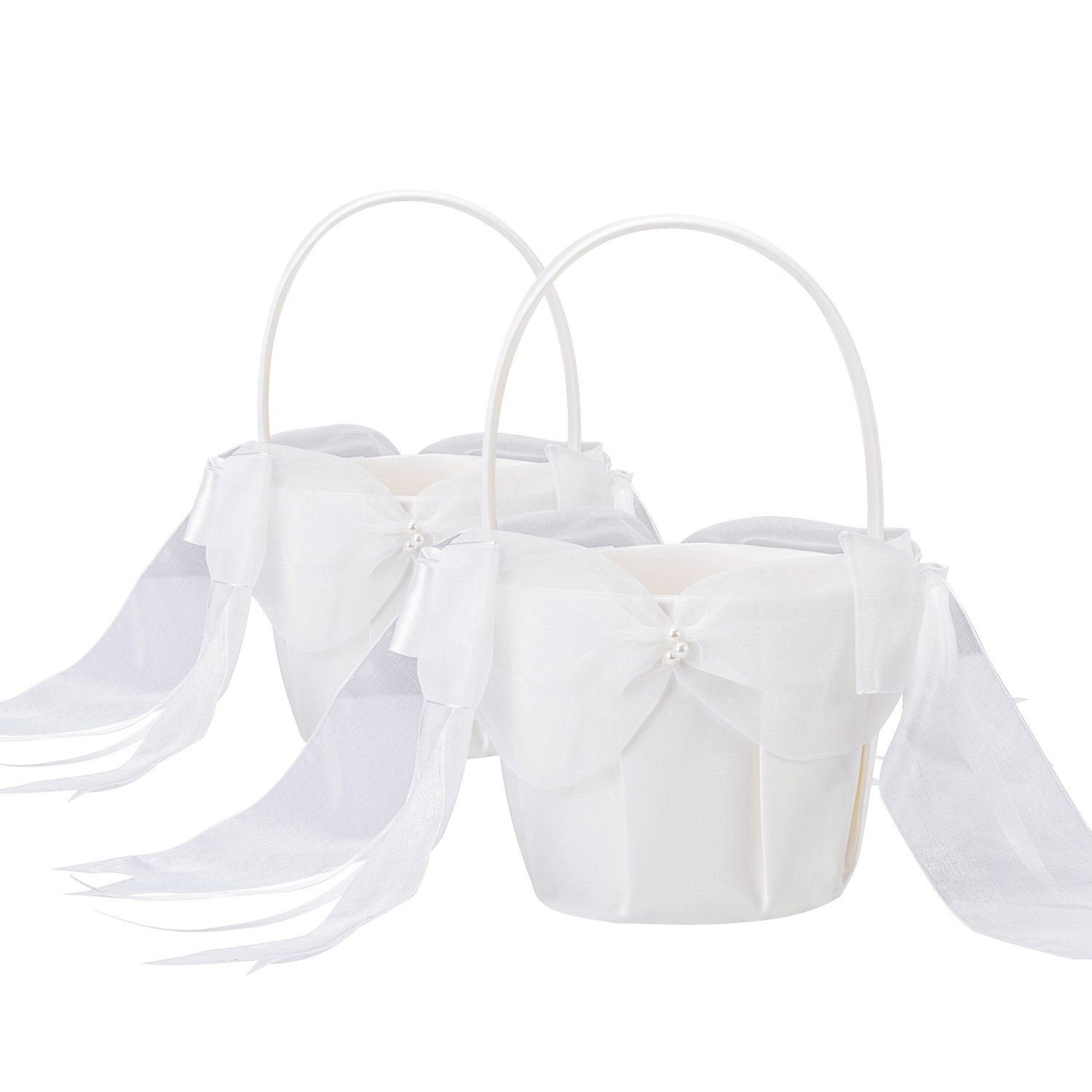 2pcsset Flower Girl Basket With Stain Bow For Wedding Ceremony